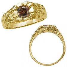 1 Carat Champagne Diamond Solitaire Nugget Engagement Men Ring 14K Yellow Gold