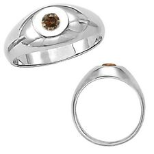 0.25 Carat Champagne Diamond Solitaire Bezel Engagement Mens Ring 14K White Gold