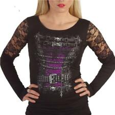 Spiral Direct WAISTED CORSET Lace Long Sleeve Top Goth Alternative