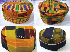 Mens Kente Print Hat vintage Hippie Boho African Traditional Kufi Cap one Size