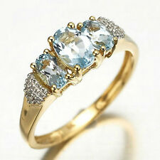 Size 6,7,8,9,10 Woman's Jewelry Dark Blue 18K Gold Filled Ring Stamp 10KT Gift