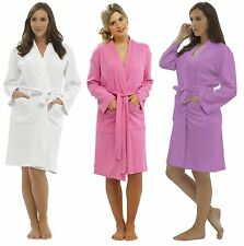 Ladies Plain 100% Cotton Summer Waffle Bath Robe / Dressing Gown