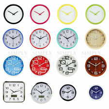 Wall Clock Large Modern Clocks Kitchen Black White Red Blue Silent Quartz