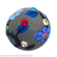 Wholesale Lot Snap Button Fit Bracelet Rhinestone Polymer Clay Flower 18mm #28