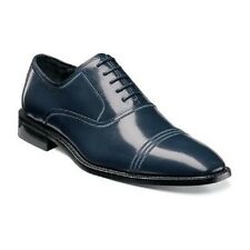 New Stacy Adams mens shoes Bingham Navy Blue Buffalo Leather Cap toe  25007-410