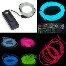 5M/16ft Flexible Glow EL Wire Rope Tube Car Bike Home Party Neon Strip Light 12V