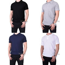 Men Casual T-shirts Slim Fit Short Sleeve Polo Shirt Cozy 100% Cotton Size S~XL