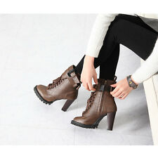 Women's rock chic Brown synthetic leather ankle buckle side zip high heels boots