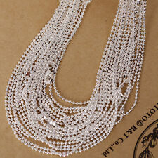 "18""-24"" 1.2mm/2.4mm Bead Ball Chain Bulk 1/5/10Wholesale Silver Plated Necklace"