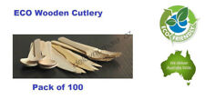 100x Eco Wooden Disposable Forks / Spoons / Knifes Picnic Wedding Party Cutlery