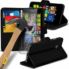 Leather Book Wallet Phone Case Cover+Glass Screen Protector for Lumia