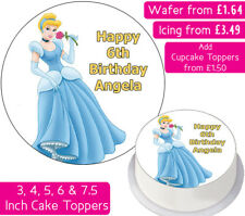 CINDERELLA EDIBLE WAFER & ICING PERSONALISED CAKE TOPPER BIRTHDAY PRINCESS DECOR