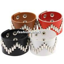 PU Leather Metal Spike Studded Bracelet Rivet Goth Punk Rock Snap Button Bangle