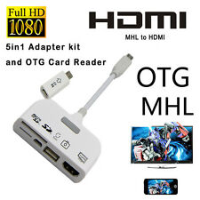 5in1 MHL to HDMI TV USB OTG Cable Phone Card Reader for Samsung HTC SONY HUAWEI