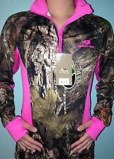 OFFICIAL LICENSED 2015 MOSSY OAK WOMEN HOT PINK HUNTING CAMO PULL OVER JACKET