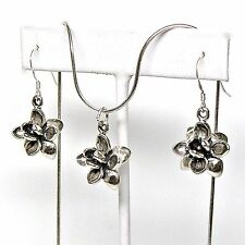 LOTUS FLOWER 925 Sterling Silver Earrings and Necklace Jewelry Set #2006