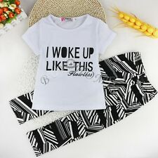 Fashion Baby Girls Fancy 2PCS Outfits T-shirt Pants Leggings Clothes Set 12M-3Y