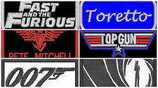Fast and the furious & Top Gun & James Bond Patches - Fancy Dress - Clubs
