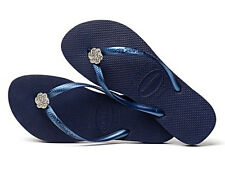 Havaianas Women`s Flip Flops Slim Crystal Poem Navy Blue Special Collection NWT