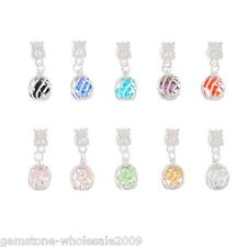 Wholesale Lots Mixed Crystal Cage Dangle Beads Fit European Charm Bracelet