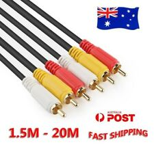 AV Audio Video Composite Cable 3RCA 3 RCA M/M Cord Male Yellow/Red/White TV DVD