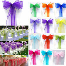 10/50/100PCS Organza Chair Cover Sash Bow Wedding Party Banquet Venue Decoration
