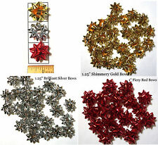 "25-50 Mini 1.25"" Gift Party Birthday Star Bows~Gold-Silver-Red-FREE Organza Bags"