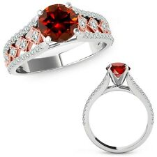 1.5 Ct Red Diamond Beautiful Solitaire Halo Wedding Ring Band 14K Two Tone Gold