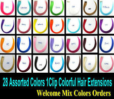 Colorful Clip in Hair Extensions Highlight Colored Hair Clip on Synthetic Hair