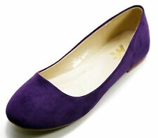 NEW Women Casual Suede Ballet Flat Shoes Size 6 - 10, (Purple Color)