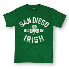 St.Pattys San Diego Distressed Design Clover Shamrock Irish Novelty Mens Shirt