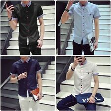New Mens Slim Fit Short Sleeve Casual Dress Shirt Formal Business T-Shirts Tops