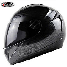Motorcycle Carbon DOT Street Fiber Skull Full Face Dual Visor Helmet Black Bike