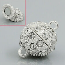 """5 Sets Silver Plated Clear Rhinestone Magnetic Clasps 20x14mm(6/8""""x4/8"""")"""