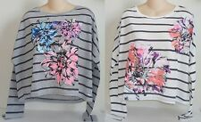 Womens AEROPOSTALE Long Sleeve Cropped Striped Flowers Crew Tee NWT #5166