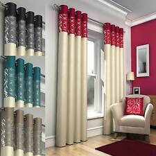 Luxury RING TOP Faux Silk Eyelet Fully Lined Ready Made Pair Of Curtains