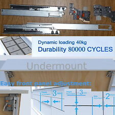 Undermount Soft Close Drawer Runners Full Extension L.C.: 40kg 3D adjustment DTC