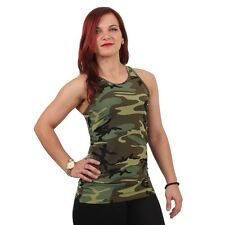 Womens Ladies Woodland Workout Army Camo PERFORMANCE Yoga Snug Tank Top Shirt