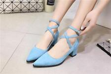 New Womens Kitten Heel Pointy Toe Ankle Strap Mary Jane Dress Shoes Pumps Size 8