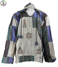 Gringo Cotton Patchwork Hooded Hippy Boho Shirt/Top Blue,Brown,Green,Cream