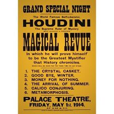 Harry Houdini 1914 Magical Revue Magic Magician Houdini New Poster Reproduction