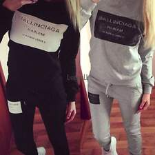 HOT Women Casual Letter Print Pullover Sweatshirt Sweats + Pants Set Tracksuit