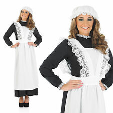 Ladies Maid Fancy Dress Costume Old Time Victorian Downton Outfit UK 8-30