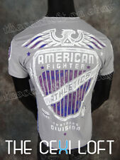 Mens AMERICAN FIGHTER T-Shirt AUGUSTA in Light Grey Eagle Style #FM2944