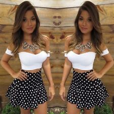 Women Sexy Strapless Short Sleeve Crop Tops and Polka Dot Skirt Two Pieces Set