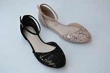 B-L52 Women Ankle Strap Exposed Cutout Side Uppers lace Flats Shoes Size 5.5~10