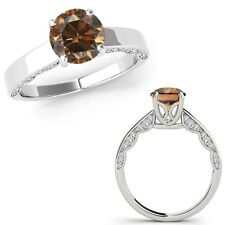 1 Ct Champagne Color Diamond Vintage Beautiful Solitaire Ring 14K White Gold