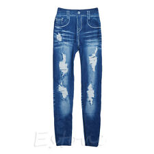 New Women Sexy Girl Faux Denim Jean Skinny Leggings Slim Jeggings Stretchy Pants