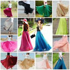 Retro Women Double Layer Chiffon Pleated Long Maxi Dress Elastic Waist Skirt Hot
