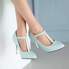 Chic Womens Stiletto High Heel Ankle Buckles T-Strappy Pointed toe Pump Shoes Sz